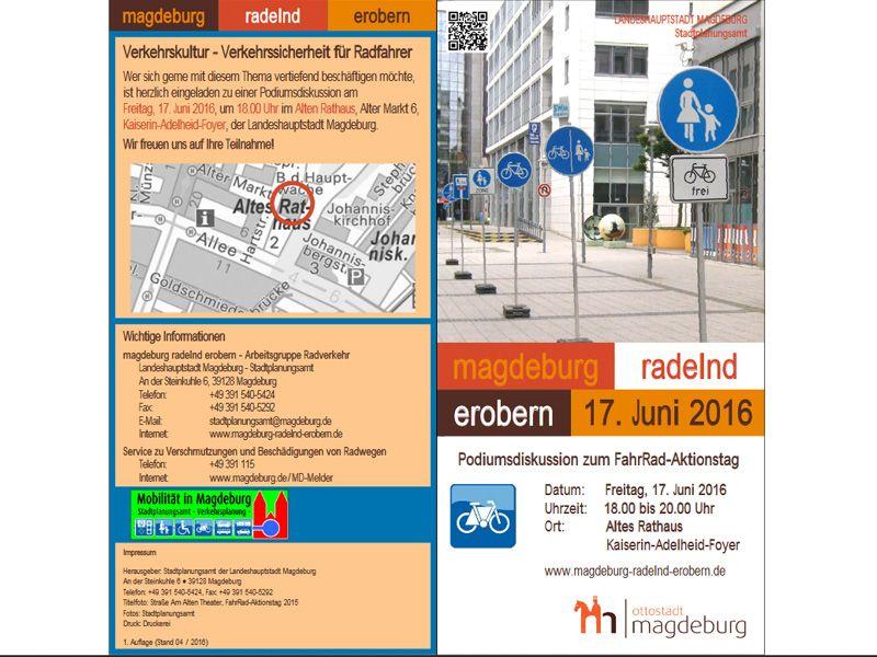 Einladung zur Podiumsdiskussion FahrRad-Aktionstag 2016 Magdeburg