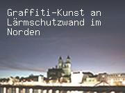 Graffiti-Kunst an Lärmschutzwand im Norden Magdeburgs